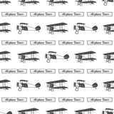 Vintage airplane tour pattern. Old Biplanes seamless background with ribbon. Retro Plane wallpaper and design elements Royalty Free Stock Photography