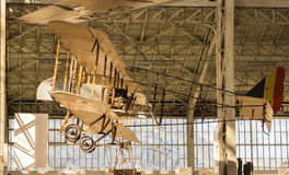 Vintage Airplane Twin Wings No Frame. Vintage Twin Wings Airplane Inside A Hangar, Holding from the Roof royalty free stock image