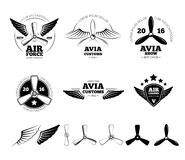 Vintage airplane vector labels, emblems and Stock Photos