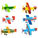 Vintage Airplanes Cartoon Models Collection Stock Photography