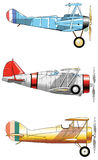 Vintage Airplanes. Design set. Old fashion blue red yellow army aircraft.  Stock Image