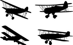 Vintage airplanes silhouettes