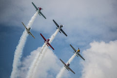 6 vintage airplanes simulating attack Royalty Free Stock Images