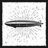 Vintage airship background. Retro Dirigible balloon grunge poster template. Steampunk design. Steam punk old sketching. Vintage airship background. Retro royalty free illustration