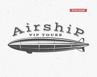 Vintage airship background. Retro Dirigible balloon vip tours label template. Steampunk design. Steam punk old sketching royalty free illustration