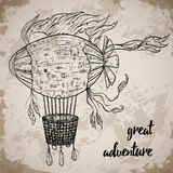 Vintage airship. Cartoon steampunk styled flying airship. Stock Images