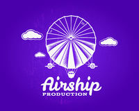 Vintage airship logo. Retro Dirigible balloon grunge template. Badge design. Old sketching style. Use as , label, stamp. For web or tee , t-shirt print royalty free illustration