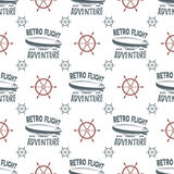 Vintage airship seamless pattern. Retro Dirigible wallpaper design with steering wheel and typography elements. Old Stock Photography