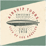 Vintage airship tee design. Retro Dirigible poster. Airplane Label vector design. Old tshirt template. Typography Royalty Free Stock Images