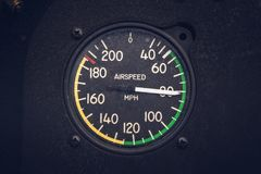 Vintage Airspeed Gauge. On a biplane while in flight Royalty Free Stock Photos