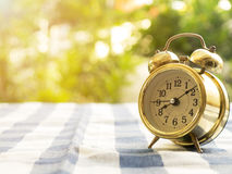 Vintage alarm clock on blue plaid tablecloth. The background is green from tree Stock Photo