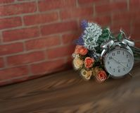 Vintage clock and flower royalty free stock photos