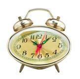 Vintage alarm clock, isolated on white background Stock Photos