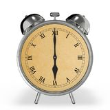 Vintage alarm clock at 6 o`clock 3d rendering. On white Royalty Free Stock Image