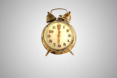 Vintage alarm-clock and old and rust gold alarm and Retro alarm Stock Photography