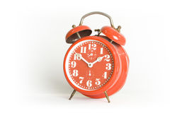 Vintage alarm clock. Shot on a clean white background Royalty Free Stock Photo