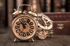 Vintage alarm clock showing five to twelve. Happy New Year 2015! Stock Photo