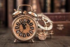 Vintage alarm clock showing five to twelve. Happy New Year 2015! Stock Photo
