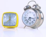 Vintage alarm clocks isolated Stock Image