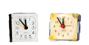 Vintage  alarm clocks on white Stock Photography