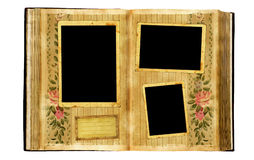 Vintage album. Page - 3 frames Stock Photography