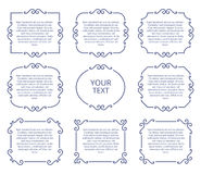 Vintage Album Page Frames, Photo Borders Vector Calligraphic Elements Stock Photos