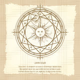 Vintage alchemy magic circle stock illustration