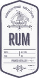 Vintage alcohol drink label design with ethnic elements in thin line style. Vintage rum label design with ethnic elements in thin line style. Alcohol industry Stock Photo