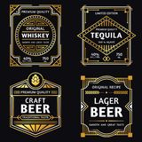 Vintage alcohol label. Art deco whiskey, tequila sign, retro craft and ager beer labels vector illustration royalty free illustration