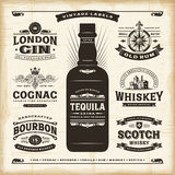 Vintage alcohol labels collection Stock Photography