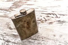 Vintage Alcohol Steel Drinking Flask with Old Rust Royalty Free Stock Photography