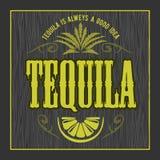 Vintage alcohol tequila drink vector bottle label. Sticker or poster for tequila tipple. On dark wooden background vector illustration