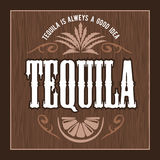 Vintage alcohol tequila drink vector bottle label. Sticker or poster for tequila tipple. On dark wooden background Royalty Free Illustration