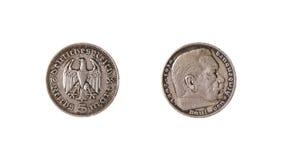 Vintage alemán de Hindenburg de la marca de los reichs de la moneda Foto de archivo