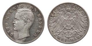 Vintage alemão 1907 do rei Otto da moeda de prata de Baviera 2 Mark do império fotografia de stock royalty free