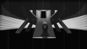Vintage Alien Invasion: Alien Cyclops Creature leaves Spaceship Black & White. A scary alien creature floats down a ramp and leaves a spaceship. 3D-Animation in stock illustration