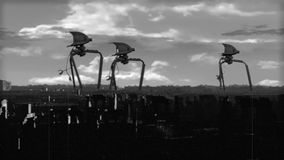 Vintage Alien Invasion: War Tripod Patrol Black and White. Alien War Tripods are attacking the city! Rod puppets in a cg environment vector illustration
