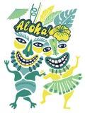 Vintage Aloha Tiki illustration, Tropical Tiki party, Hawaii party time, Tiki bar, Aloha hawaii t-shirt print, orange and teal col royalty free stock photo