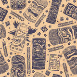 Vintage Aloha Tiki seamless pattern Royalty Free Stock Photos