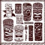 Vintage Aloha Tiki set. Vintage Aloha Tik iconsi set for your business royalty free illustration