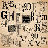 Vintage Alphabet. Hand drawn in  - High Quality Royalty Free Stock Photography