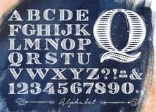 Vintage alphabet blue Stock Photo
