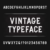 Vintage alphabet font. Distressed letters, numbers and symbols. Royalty Free Stock Photos