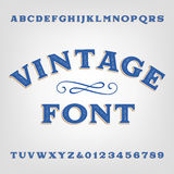 Vintage alphabet font. Scratched type letters and numbers. Royalty Free Stock Images