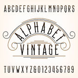 Vintage alphabet font. Thin type letters and numbers. Vector typography for labels, titles, posters etc Royalty Free Stock Photography