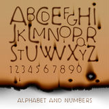 Vintage alphabet and numbers on burned out paper. Background, vector illustration Stock Photography