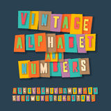 Vintage alphabet and numbers, collage paper design Royalty Free Stock Image