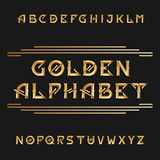 Vintage alphabet. Ornate type letters in golden color. Vector font for labels, headlines, posters, flyers etc Royalty Free Stock Image