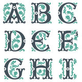 Vintage alphabet. Part 1 Stock Image