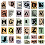 Vintage alphabet and punctuation Stock Photography